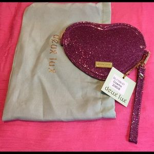 Deux Lux heart shaped wristlet
